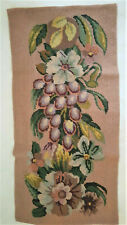 *Antique Completed Needlepoint* Art Deco Style * Flowers & Fruits * Panel Wool