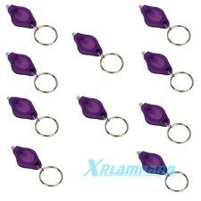 10pcs Purple UV LED Flashlight Mini Keychain ID Currency Passports Detector Gift