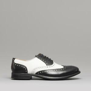 Mister Carlo MONTY Mens Leather Vintage Spats Funky Classic Brogue Lace Up Shoes