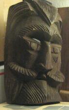 Wood Mask Antique Mustache Beard Nordic Viking Conquistador Primitive Poseidon ?