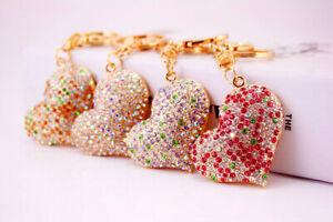 Heart Shape Crystal Diamante Rhinestone Bag Charms Handbag Keyrings Pendant Key