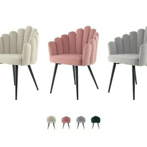 Samt Stuhl Rosa Grau Beige Modern Schminktisch Polsterstuhl Esszimmerstuhl