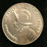 1966 PANAMA  Silver Spanish CONQUISTADOR Half BALBOA Coin 11.46gr