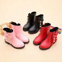Girls Kids Leather Ankle Princess Boots Winter Flat Children Shoes AU