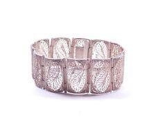 """Vintage Filigree Panel Bracelet 800 Silver 29.5g 7"""""""