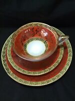 Porzellanmalerei Parbus Imperial Germany Tea Cup, saucer, plate. 3 piece set