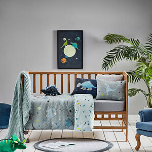 Adairs Kids Galact-o-saurus COT (Jnr bed) Quilted Quilt cover set dinosaur space