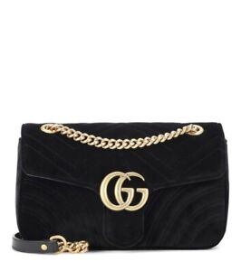 Authentic GUCCI Marmont Black Velvet Small Shoulder Bag Gold Chain FAST SHIPPING