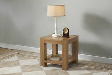 Solid Wood Chunky Oak Lamp Side Table With Shelf | Brampton Range