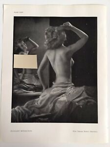 PLEASANT REFLECTION Woman Posing 1945 Vintage RP Print Miss Thelma Mason Reading