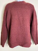 LL Bean Men Size L Burgundy Sweater 100% Lambs Wool