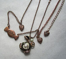 Betsey Johnson Necklace Copper Teapot Baby Charms 'store display'