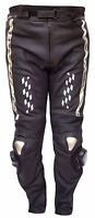 Motorcycle Motorbike Black Cowhide Nappa Leather CE Armour Lined Biker Trousers