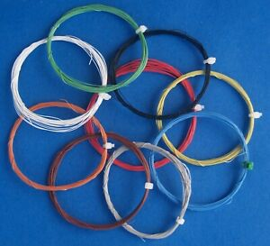 """36 AWG 0.005"""" 0.127mm Ultra Fine 7 Stranded Decoder Wire. 9 colours. 5 mtr each"""