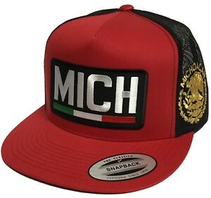 MICHOACAN MEXICO LOPGO FEDERAL  HAT  2 LOGOS RED BLACK MESH TRUCKER SNAPBACK