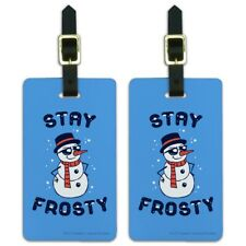 Stay Frosty Chill Snowman Funny Humor Luggage ID Tags Carry-On Cards - Set of 2