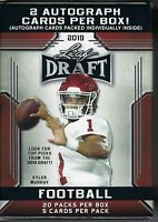 2019 Leaf Draft Football 20pk Premium RETAIL Blaster Box =100 cards, 2 Autos/box