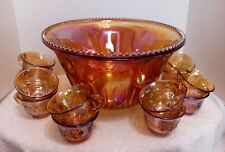 Indiana Iridescent Gold Carnival Glass Princess Grape & Leaf Punch Bowl Set