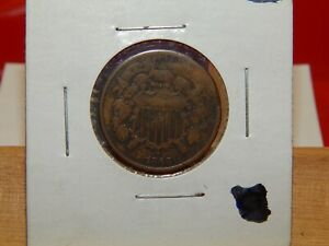 1866 TWO CENT PIECE - US MINT CIVIL WAR ISSUE COINAGE NICER CONDITION