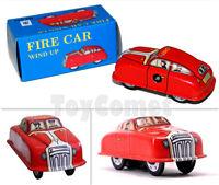 MS644 Mini Fire Car Retro Clockwork Wind Up Tin Toy w/Box