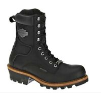 "Harley-Davidson® Men's 7.5"" Tyson Logger Black Leather Motorcycle Boots D95188"