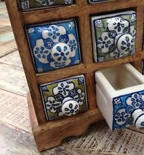 ❤️Mango Wood Unit 6 Ceramic Blue Green Trinket Drawer Hand Made Fair Trade India
