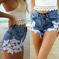 Fashion Women High Waist Beach Jeans Lace Short Jeans Denim Hot Shorts Pants New
