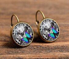 New Butterfly Bronze Glass cabochon 18mm handmade Earrings Jewelry GC-38