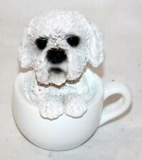 "New 2.25"" Adorable Bichon Poodle Puppy Dog Sitting Inside a Teacup Statue Figure"