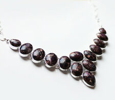 925 Silver and Purple Turquoise Natural Stone Statement Necklace