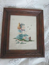 Vintage Framed Needlepoint Hummel Girl Singing w/Book Under Glass 11 x 13