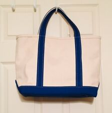 LL Bean Vintage Canvas and Blue Boat Tote with Zippered Closure