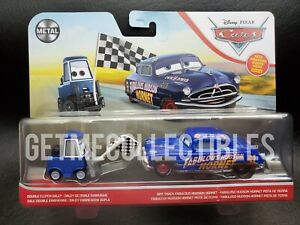 DISNEY CARS DOUBLE CLUTCH DALEY DIRT TRACK FABULOUS HUDSON HORNET 2 PACK SAVE 6%