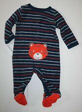 New Carter's Boys Newborn 3m 6m Sleep N Play Pjs Terry Tiger Face Rear & Feet
