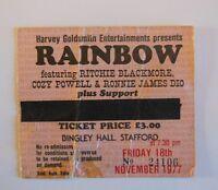 RAINBOW   Ritchie Blackmore's Rainbow TICKET   STAFFORD 1977