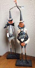 "NEW SET ~ Halloween Metal 23"" Jack-O-Lantern Folk Art Figurine Pumpkin Primitive"