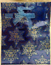 "Hallmark ""Hanukkah Star of David"" Foil Blue Gift Bag Paper Sack - New!"