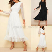 UK 8-24 Women Long Sleeve Lace Midi Dress Party Holiday Casual Dresses Plus Size