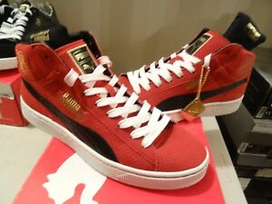 PUMA UNDFTD MID UNDEFEATED 24K GOLD PACK RIBBON RED WHITE BLACK 348216-02 SZ 13