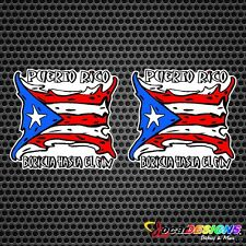 2x PUERTO RICO FLAG BORICUA HASTA EL FIN VINYL CAR STICKERS DECALS