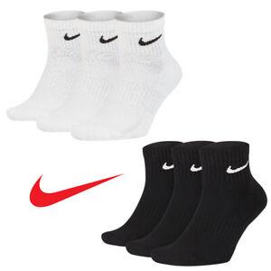 Nike Everyday Quarter Cushion Ankle Training Socks 3 Pairs Pack | Size 8-12