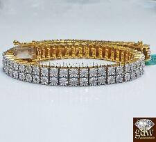 Auténtico Plata de Ley 925 Tono Dorado Pulsera con Reales 1/3 Ct Diamantes