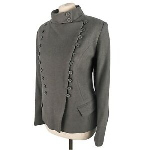 NEW £185 TOAST 14 Grey Blue Jacket Wool Blend Fitted Military Style Womens BNWT