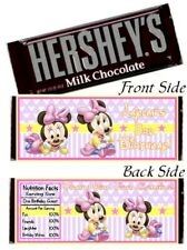 12 Baby Minnie Mouse Birthday Party or Baby Shower Hershey Candy Bar Wrapper 1st