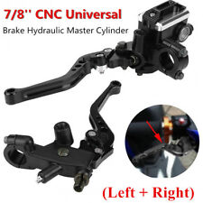 CNC Motorcycle 7/8'' Clutch Master Cylinder Lever Set Reservoir (Left + Right) #