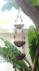 3-tier Plant Basket Coconut Shell Pot Hanging Flower Window Balcony Decor Vase