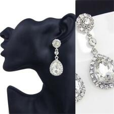 Gorgeous Silver Plated White Crystal Teardrop Wedding Party Stud Dangle Earrings