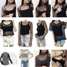 Women Korean Style Thin Mesh Blouse Top Short/Long Sleeve Transparent Tee TShirt