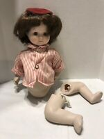 """Vintage 12"""" Bisque Doll Brown Eyes Unmarked Doll For Repair Or Parts Only"""