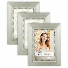 Icona Bay 4x6 Picture Frame (4 x 6, 3 Pack, Silver) Photo Frames, Wall Mount or